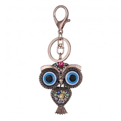 vendimia Owl Rhinestones Llavero Rings Holder