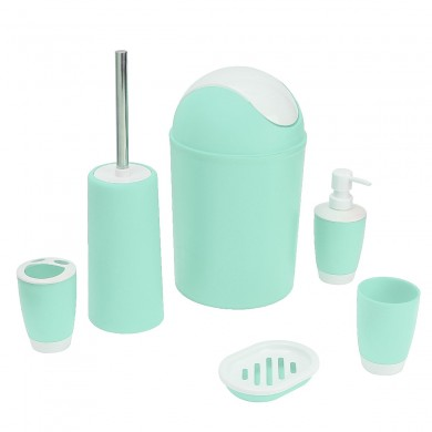 6PCS Bathroom Accessory Cup Bin Soap Dispenser Tumbler Cleaning Brush Holder