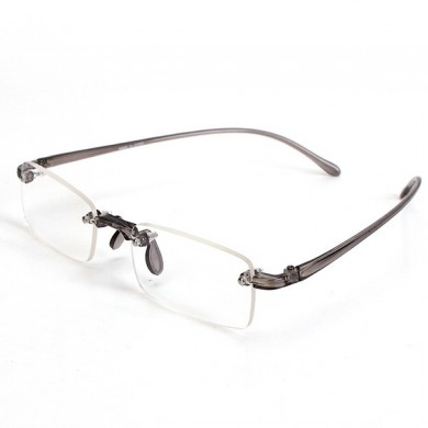 Grey Rimless Light Presbyopic Reading Glasses Fatigue Relieve Strength 1.0 1.5 2.0 2.5 3.0