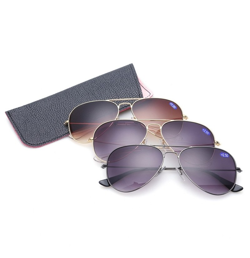 KCASA Reading Glasses Sunglasses Stainless Steel Frame HD (Color: #03, Magnification Strength: 1.0) фото