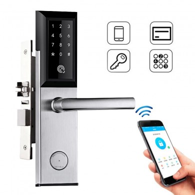 WiFi Bluetooth Silver Cipher Remote Smart Door Lock Cell Phone Key Password Card