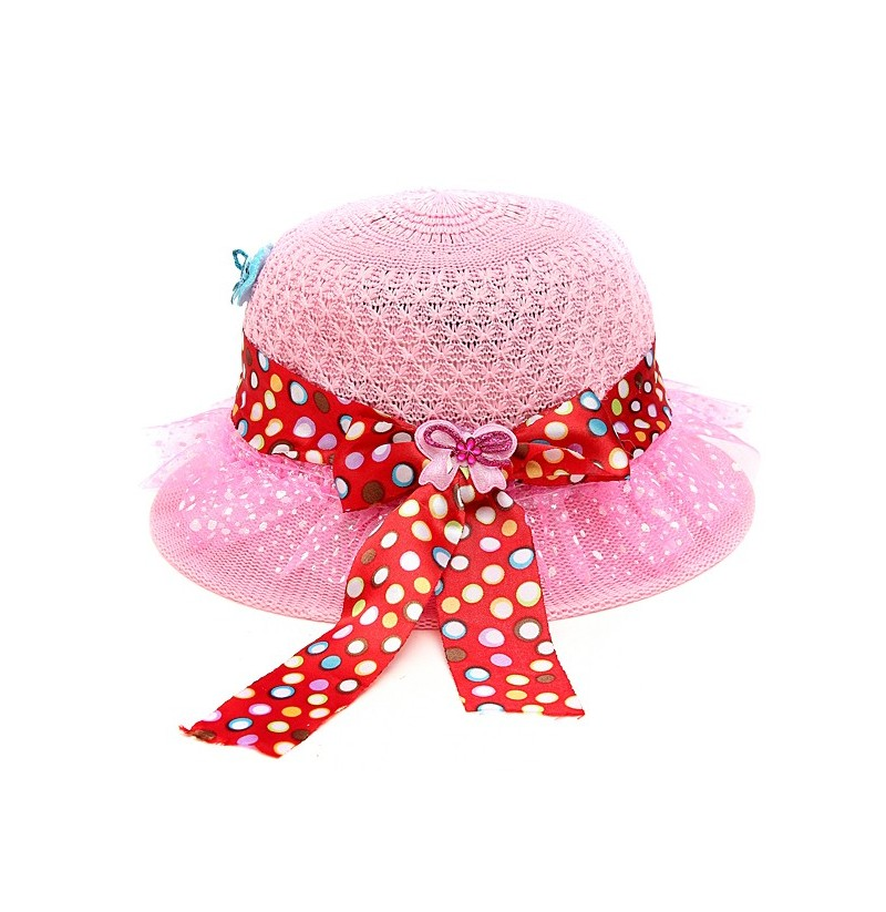 Summer Lovely Girls Baby Kids Flower Bow Beach Straw Sun Cap Hat (Color: Rose Red) фото