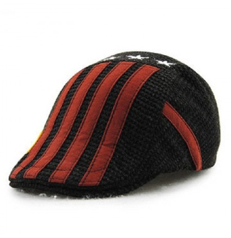 Child Boys Cotton Washed Buckle Stripe Stars Beret Cap Adjustable Beret Sport Baseball Hat