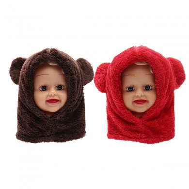Toddler Boy Girl Baby Kids Cute Warm Winter Fluffy Bear Hat Hood Scarf Cap