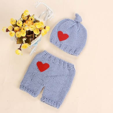 Newborn Baby Girls Boys Crochet Knit Heart Costume Photo Photography Prop Outfits