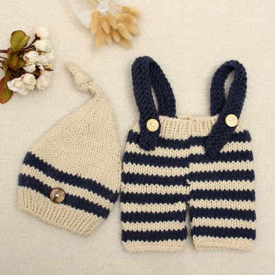 Newborn Baby Girls Boys Crochet Knit Costume Photo Photography Prop Outfits Pants Hat