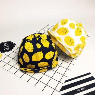 Baby Boys Girls Lemon Printed Hat Cute Cotton Summer Sunshade Caps Soft Brim Baseball Caps