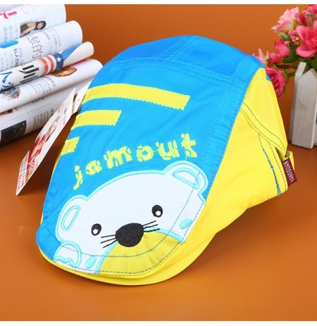 Baby Boys Girls Summer Thin Breathable  Berets Hat Quick Dry Bear Pattern Visor Peaked Cap