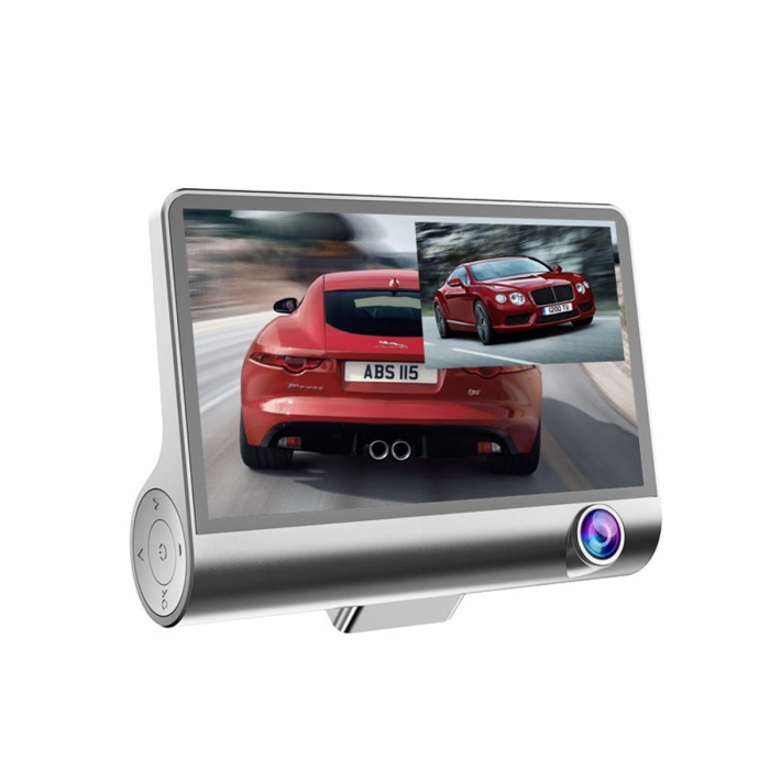 4.3inch 1080P IPS Screen Car DVR 3 Lens Dash Camera Recorder Vista traseira G-sensor
