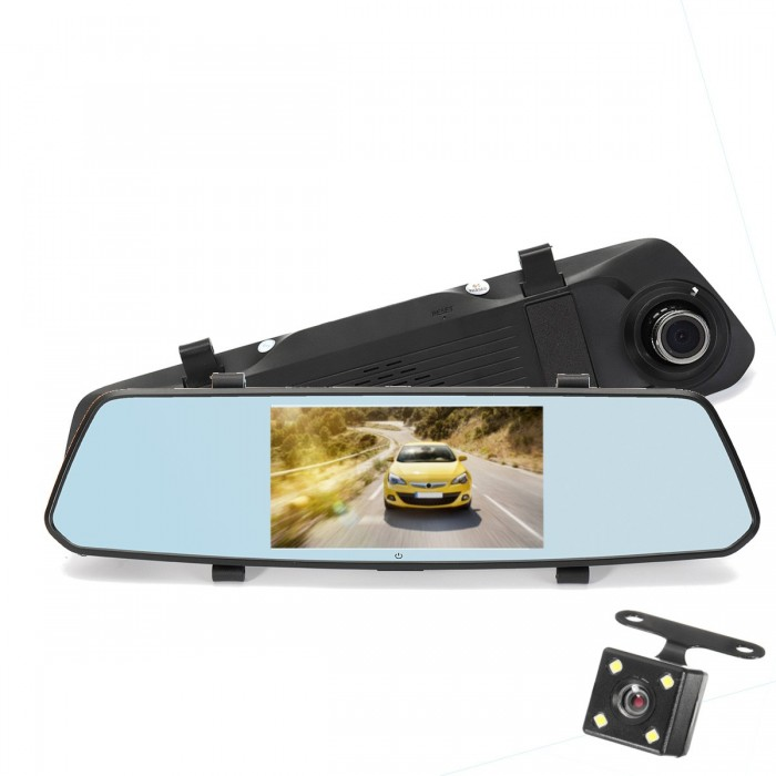 5 Inch 140 Degree View Angle 1080P Completo HD Espelho traseiro Car DVR Screen Touch Dual Lens Night Vision
