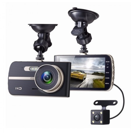EIVOTOR Full HD Dual Lens Car DVR Camera 4.0 Inch LCD Display Video Recorder Dash Cam