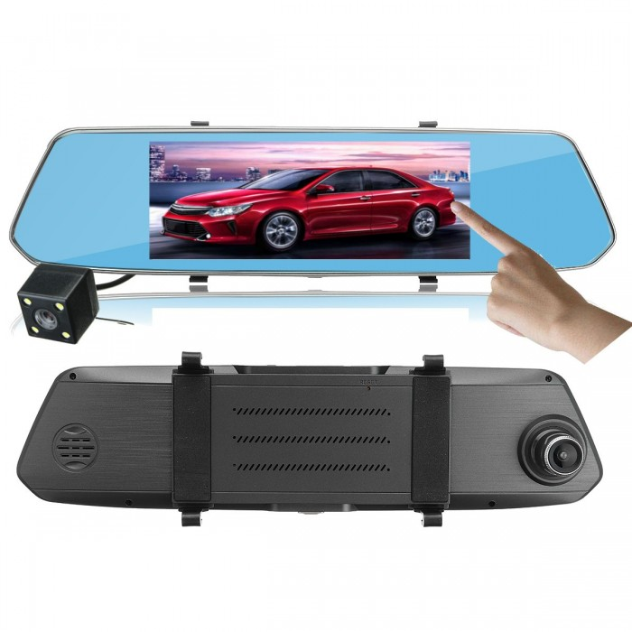 7 Polegada HD 1080P 2.5D Full Screen Touch Screen DVR Carro Dual Camera Lens Gravador