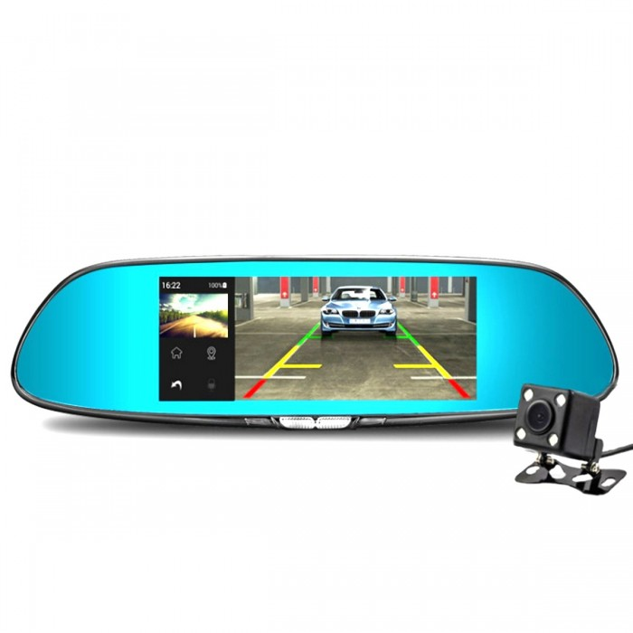 7 Inch 1080P FHD Dual Lens 14000000 Pixcl Driving Recorder Car Mirror DVR Camera 170 Degree Angle