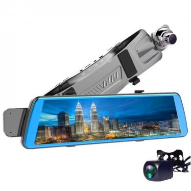 V5 10 Polegadas Streaming Mídia Full Tela Toque Dual Lens Car DVR