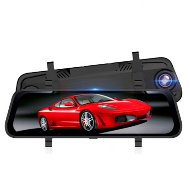 10 Inch 1080P Full Touch Screen HD Car Rearview Mirror DVR Night Vision Double Lens Reversing Image