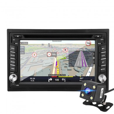 6.2 Inch 8G 1080P Bluetooth Double 2 Din CD DVD Radio Stereo GPS SAT NAV Rear Camera Car MP5 Player