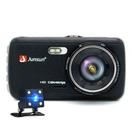 Junsun 4 Pollici Full HD 1296P ADAS Dual lente IPS Videoregistratore Night Vision Car DVR fotografica