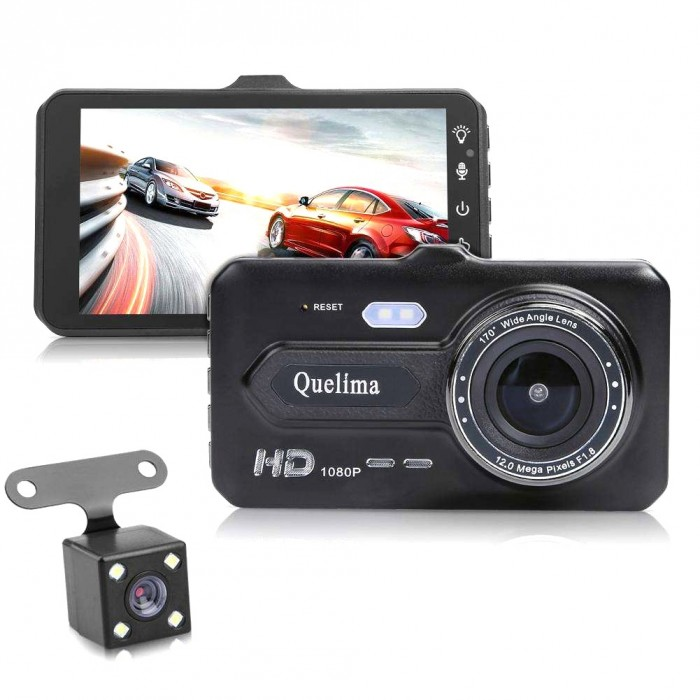 Quelima 4 Inch 1080P Touch Dual Lens Car DVR Camera Night Vision 170 Degree Wide