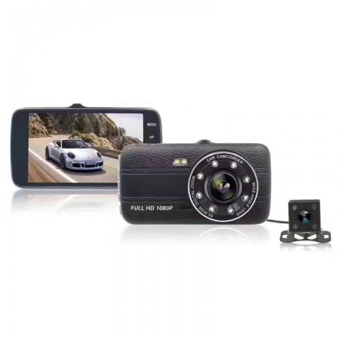 4 Inch 1080P Loop Recording Night Vision 170 Degree Wide Angle Car DVR with Rear View Camera