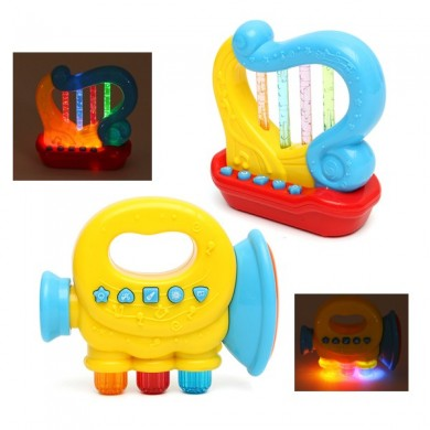 Baby Infant Mini Magic Handtrompete Harfe LED Musik Pädagogisches Kinderspielzeug