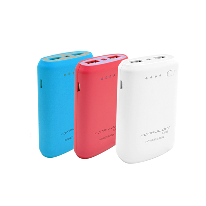 KONFULON Y1301 7800mAh Colorful Dual USB Ports Power Bank for Samsung Xiaomi