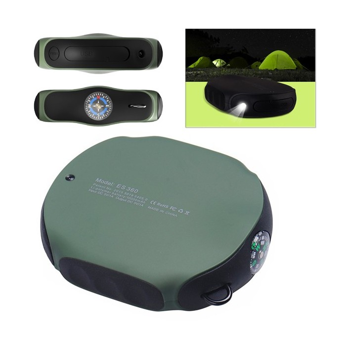 8000mAh Outdoor Waterproof Portable Power Bank with Compass LED Light for Mobile Phone