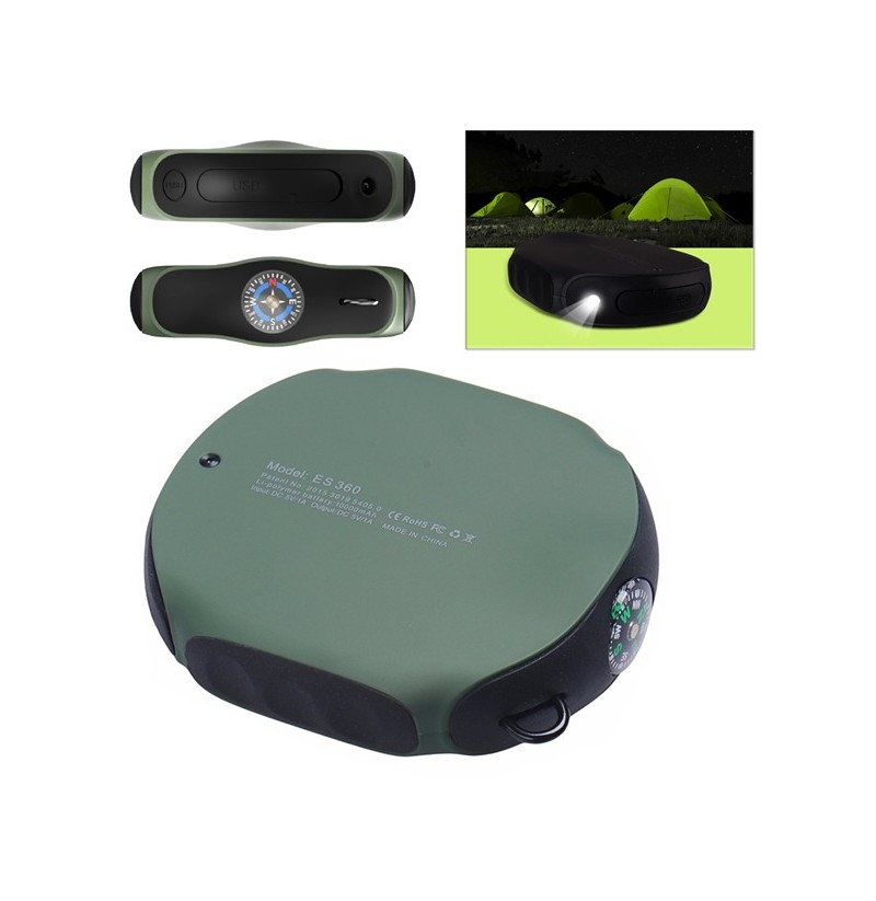 8000mAh Outdoor Waterproof Portable Power Bank with Compass LED Light for Mobile Phone (Color: Green) фото