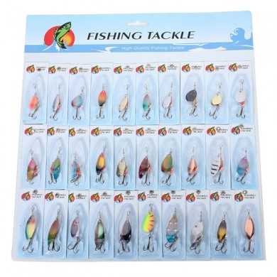 30x Metallfischen lockt Spinner Baits Assorted Angelhaken Tackle