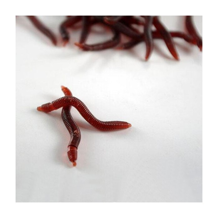 20pcs Soft EarthWorm Fishing Lures Silicone Red Worms Bait Plastic