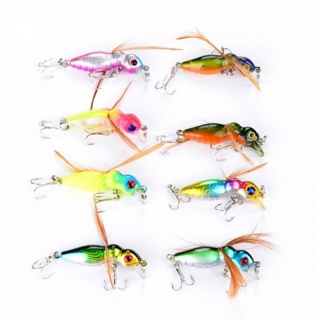 Proberos 8 PCS 4.5cm Bee Bait Fishing Hard Lure Bait Fishing Tackles