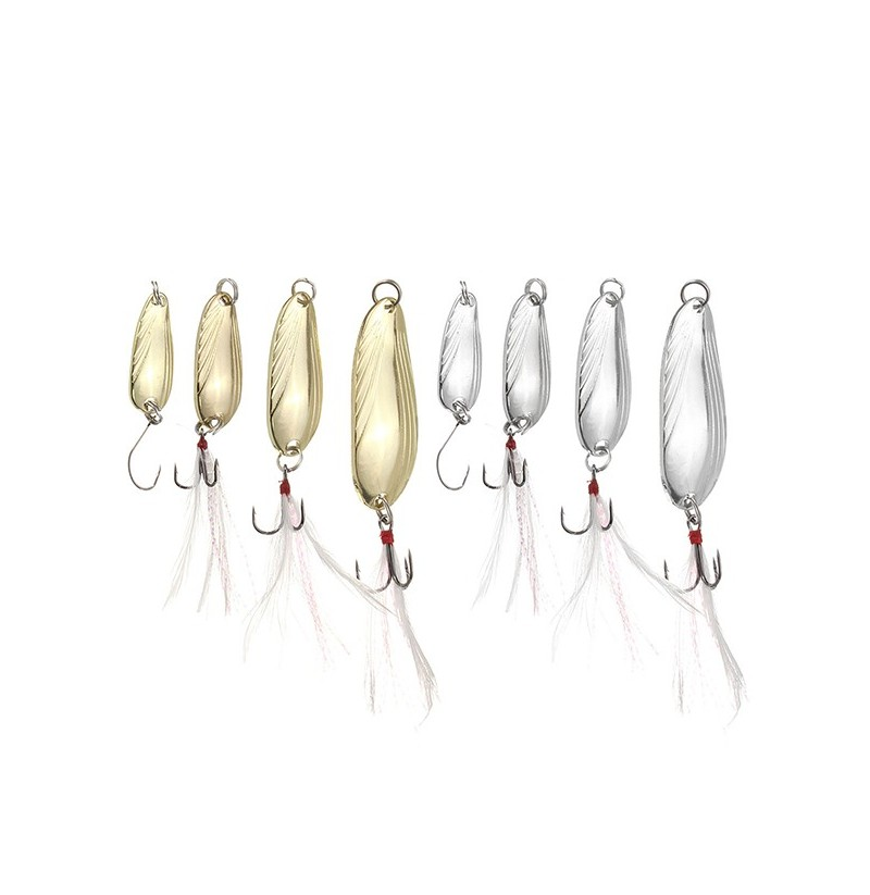 ZANLURE 10pcs Fishing Paillette Lure Bait Sequins Fishing Lure Treble Feather Hook (Color: Gold, weight: 12g) фото