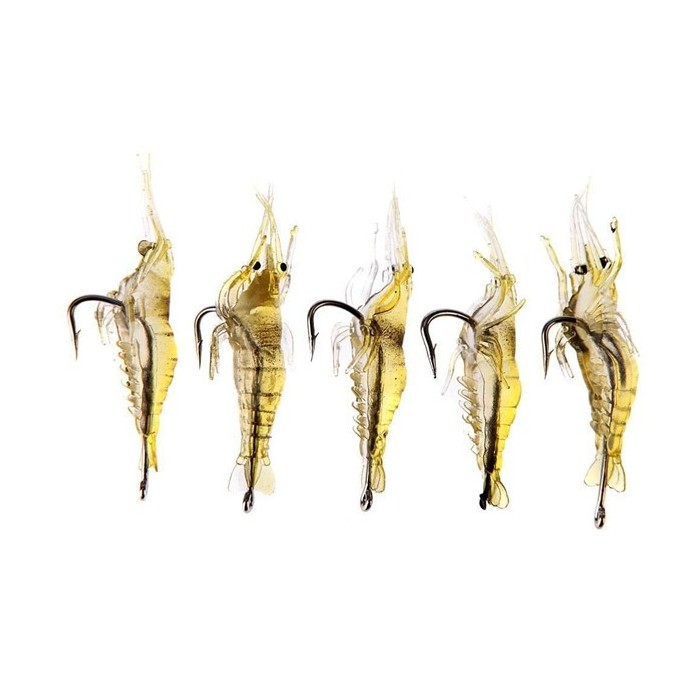 20pcs Shrimp Fishing Lure Soft Prawn Shrimp Fishing Lure with Hook