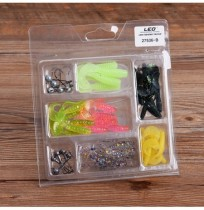 LEO 52Pcs Angelköder Blei Haken Soft Bait Set Bassköder Tackle