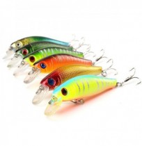 6Pcs/Lot 8.5CM 8.5G Colorful Fishing Lures Bait Crankbaits 3D Fish Eyes with Hooks Fishing Accessory
