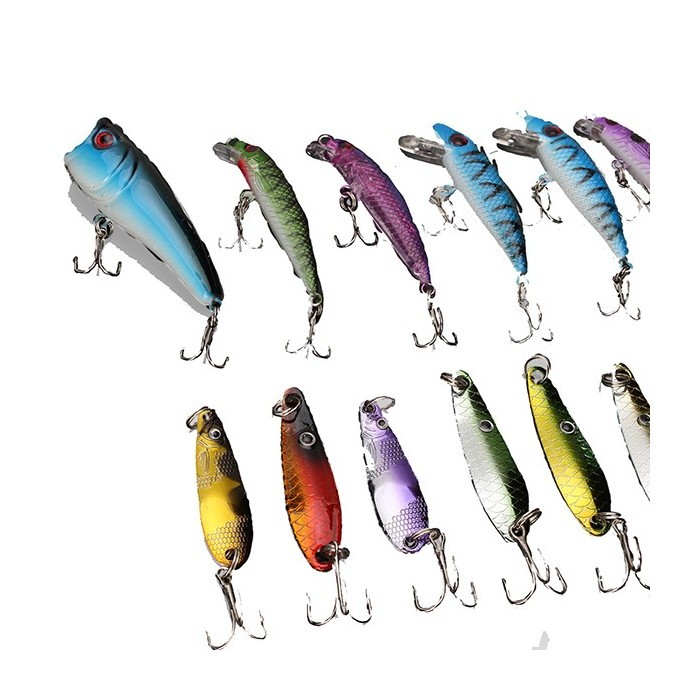 ZANLURE 30pcs Minnow Pesca Lures Spinner Spoon isca Crankbait Assorted Hook Tackle