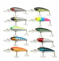 ZANLURE Plaques de pêche 20pcs Couleurs assorties Crankbaits Crochets Minnow Spinner Baits Tackle
