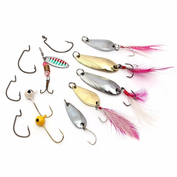 Lot 100 pcs Kinds of Fishing Lures Crankbaits Hooks Minnow Bass Baits Tackle+Box