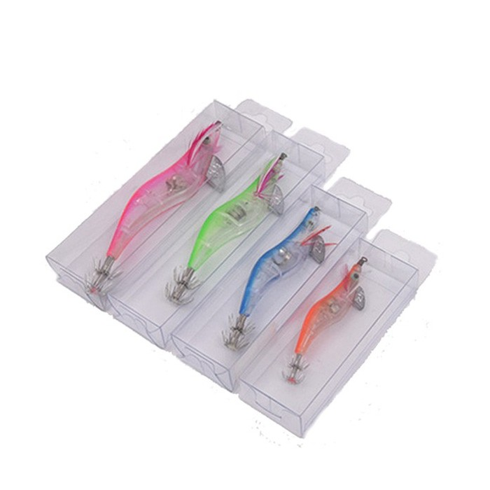 LEO 1pc 10/11 / 13cm LED Gamberetti di legno TORCIA Lure Luminoso Squad Jig Hard Esca TORCIA Tackle