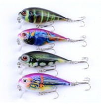 ZANLURE 4PCS 5.5CM 9G Fishing Lures Bass Crankbaits Fishing Bait Hook Lifelike 3D Eyes Lure