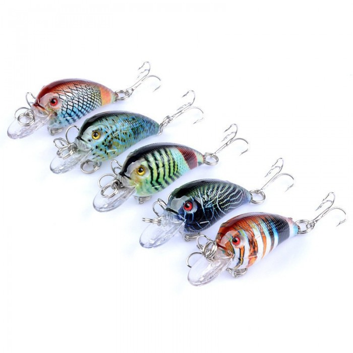ZANLURE 5PCS 4.5cm 4.2g Fishing Lures Rock Fishing Hard Bait Lures Bass Crankbaits Bait