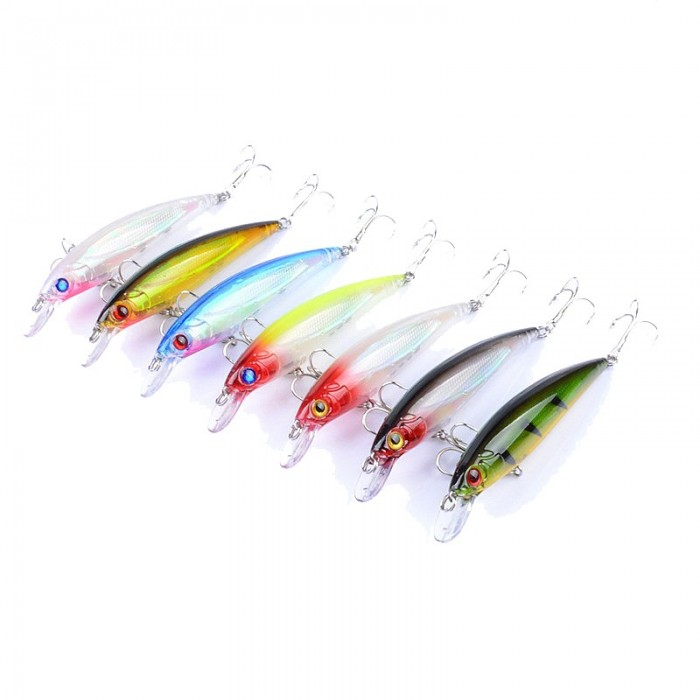 ZANLURE 7pcs/set 11cm 13.4g Fishing Lure 0.6-1.8m Depth Minnow Floating Bait Wobblers Lure