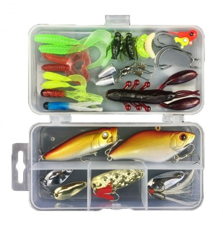 ZANLURE 28pcs Full-class Mixed Fishing Lure Sets Hard Baits/Soft Lures Fake Artificial Bait With Box