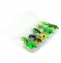 5pcs 12g 6cm Dual Hook Soft Frog Fishing Lure Top Water Artificial Bait Snakehead Fishing Crank Bait