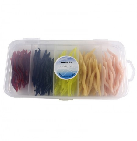 Anmuka 150Pcs / Set 4cm Simulazione Lombrico Coloree misto Worms Artificiale TORCIA Lure With Tackle Scatola