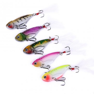 ZANLURE 5pcs/set 5.5cm 11g Quick Sinking Metal VIB Spoon Bait Bass Fishing Lure Artificial Bait Lure