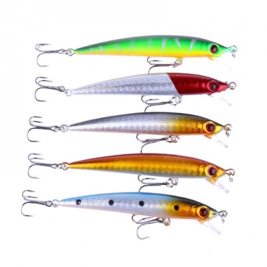 ZANLURE 5pcs / set 8.5cm 6g Minnow pesca Señuelo Wobbler Isca Artificial 3D Eye Swim Hard Bait