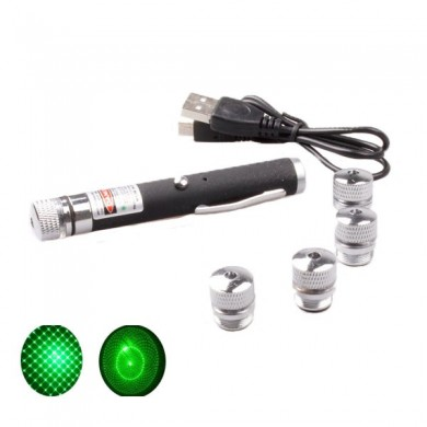 532nm 5 Patterns USB Charge Green Laser Pointer 5mw Built-in Battery