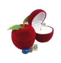 Velvet Apple Shape Ring Earrings Jewelry Display Storage Scatola