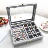 Ring Earring Flannel Storage Box for Jewelry Dressing Table