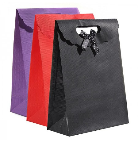 Bowknot Design Plastic Flip Packaging Bag Jewelry Gift Box Christmas